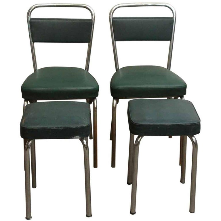 1970s French Strafor Dark Green and Chrome Chair and Stool Set For Sale