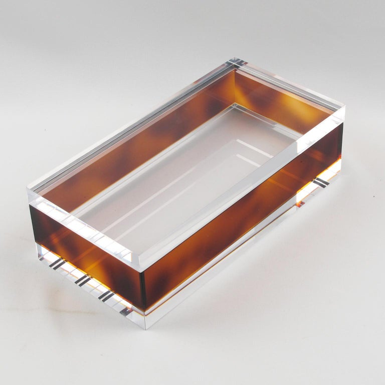 1970s French Tortoiseshell Lucite Box In Excellent Condition In Atlanta, GA