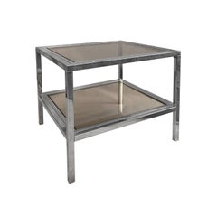 1970s French Two-Tier Brass and Chrome Square Side Tables with Smoked Glass