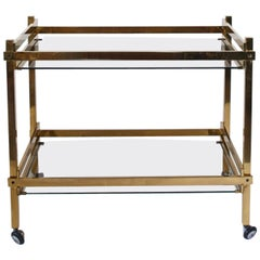 1970s French Two-Tier Brass and Smoked Glass Bar Cart on Castors