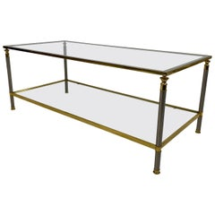 1970s French Two-Tier Nickel and Brass Coffee Table