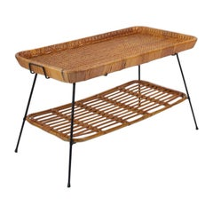 1970s French Two-Tier Rattan Table with Removable Tray