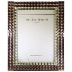 1970s French Two-Tone Blush and Clear Mirrored Picture Frame