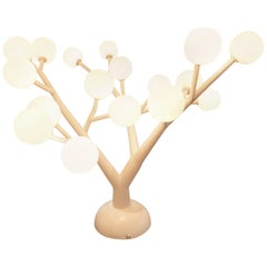 1970s French Unique White Painted Metal and Opaline Bulbs Tree Light Sculpture