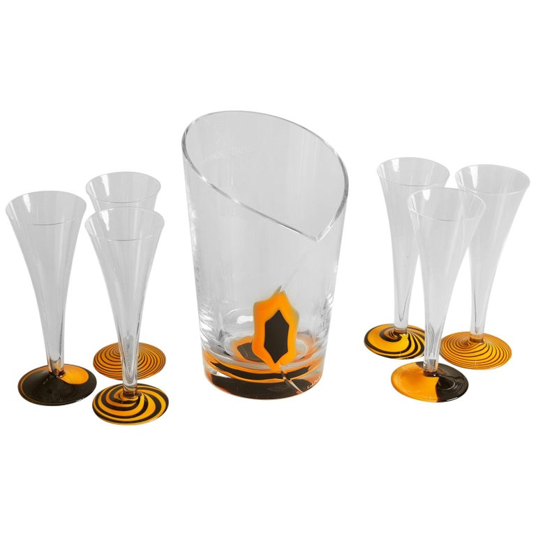 1970s French Veuve Clicqout Murano Glass Ice Bucket and Flutes For Sale