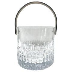 1970s French Vintage Crystal Ice Bucket with Fluted Ice Glass Design