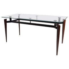 1970s French Walnut, Metal, and Glass Console