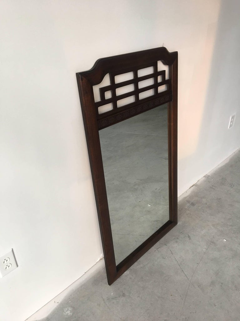 Wood 1970s Fretwork Mirror For Sale