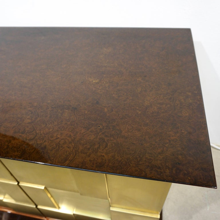 Mid-Century Modern 1970s Frigerio Italian Burl Walnut Sideboard with Brass Sculptural Relief Design For Sale