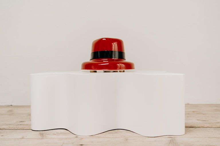 Quirky object this red hat lamp, made and stamped by TIF Switzerland, in good vintage condition