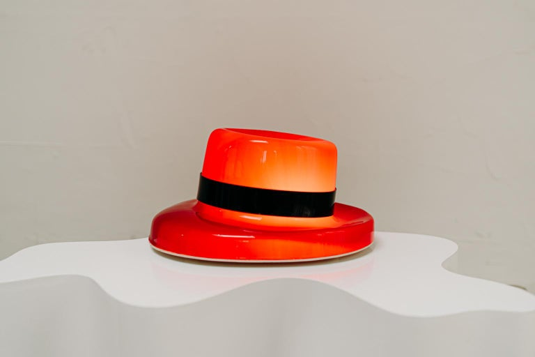 Resin 1970's Funky Red Hat Lamp For Sale