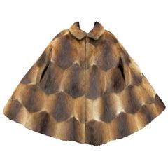 1970s Funky Sheared Beaver Swing Cape Coat - Vintage