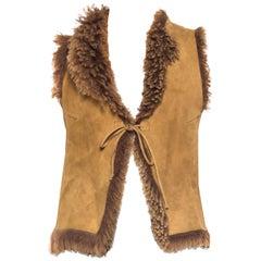 1970S  Brown Fur Shearling Vest