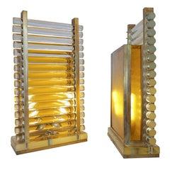 1970s Gabriella Crespi Style Pair of Italian Brass & Crystal Urban Design Lamps
