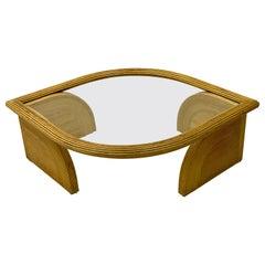 1970s Gabriella Crespi Style Tear Shaped Pencil Bamboo Coffee Table