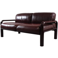 1970s Gae Aulenti Two-Seat Leather Sofa for Knoll