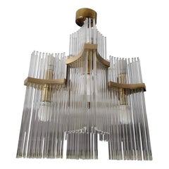 1970s Gaetano Sciolari Mid-Century Modern Brass and Glass Chandelier