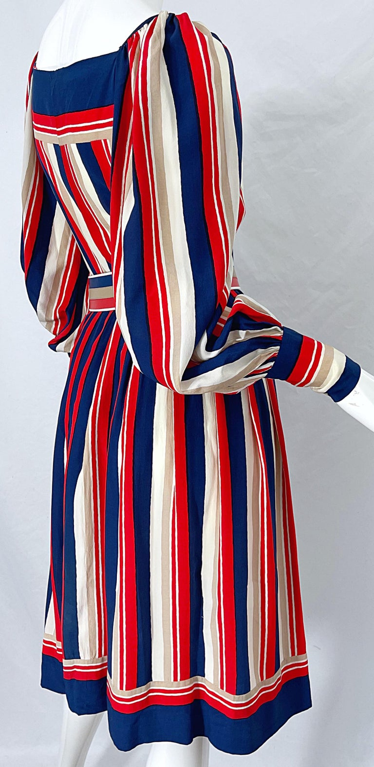 1970s Galanos Red White & Blue Bishop Sleeve Striped Silk Vintage 70s Dress For Sale 6