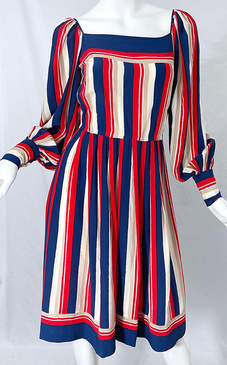 1970s Galanos Red White & Blue Bishop Sleeve Striped Silk Vintage 70s Dress For Sale 7