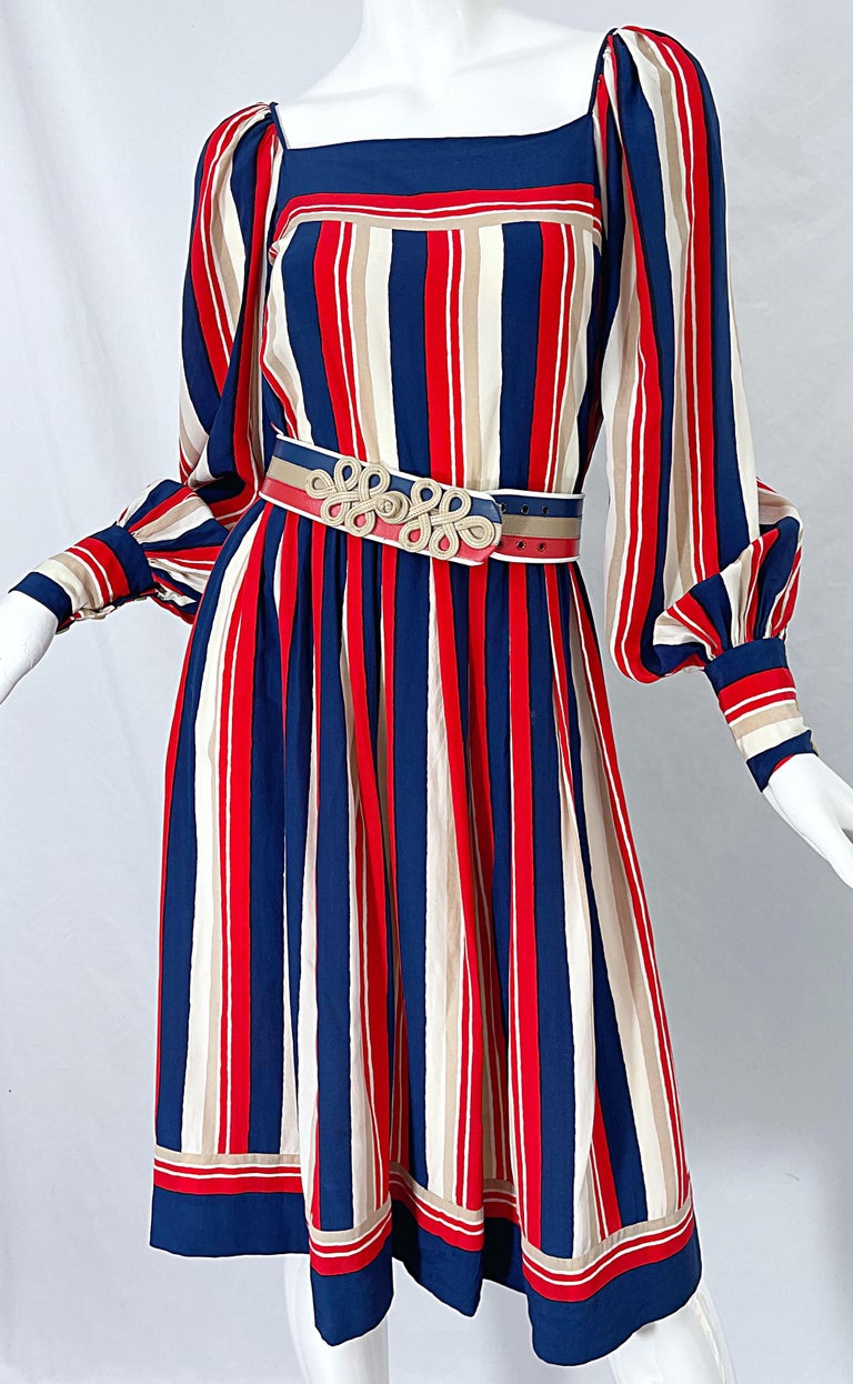 1970s Galanos Red White & Blue Bishop Sleeve Striped Silk Vintage 70s Dress For Sale 8