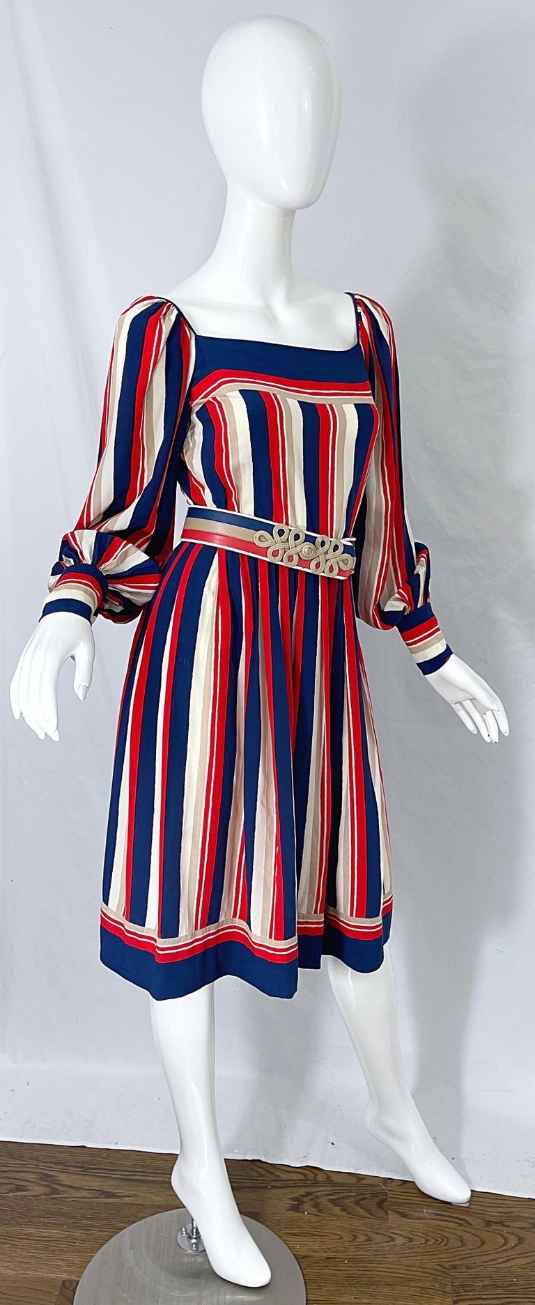 1970s Galanos Red White & Blue Bishop Sleeve Striped Silk Vintage 70s Dress For Sale 9