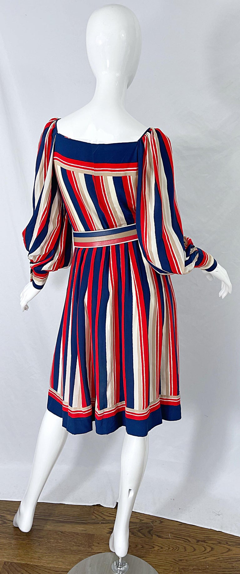 1970s Galanos Red White & Blue Bishop Sleeve Striped Silk Vintage 70s Dress For Sale 10
