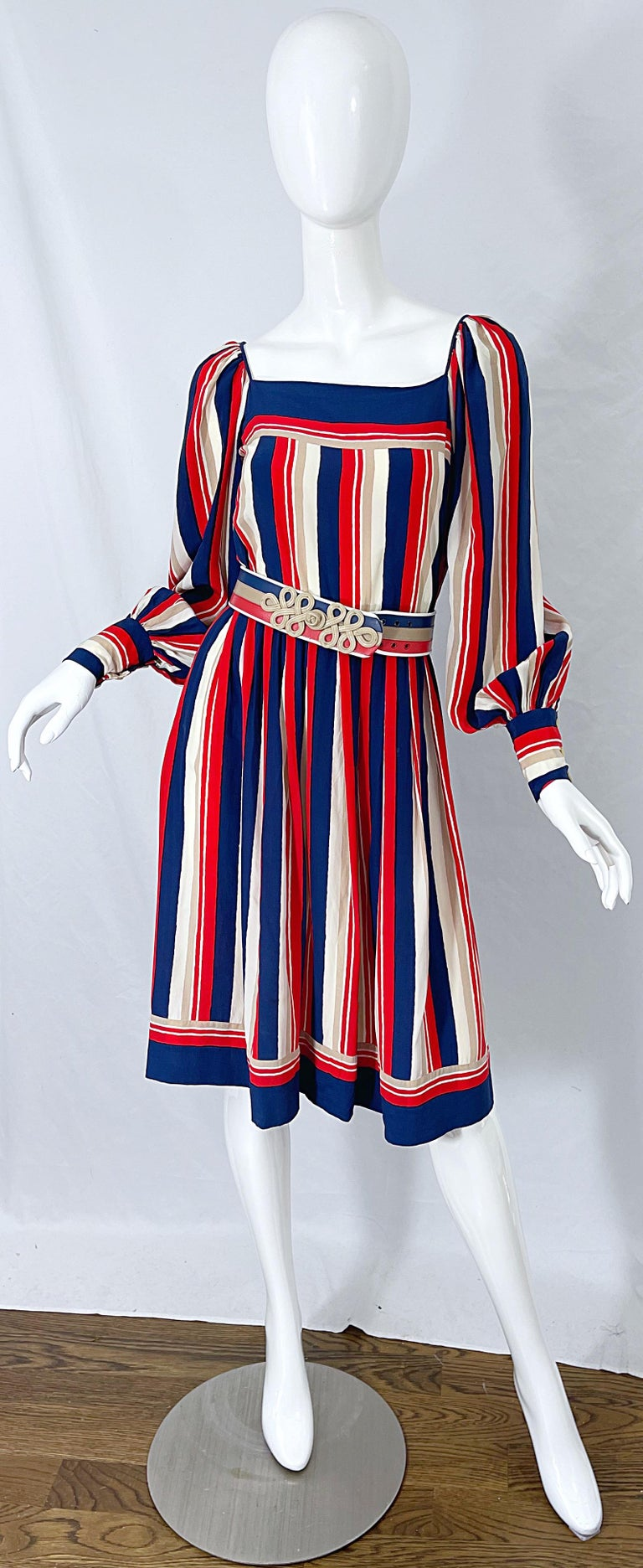 1970s Galanos Red White & Blue Bishop Sleeve Striped Silk Vintage 70s Dress For Sale 11