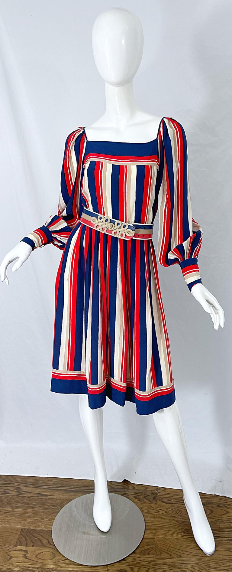 Insanely chic early 70s JAMES GALANOS for Bonwit Teller red, white and blue and beige striped belted silk dress ! Features the most luxurious soft silk you have ever felt, and is lined in silk chiffon. Vertical stripes down the bodice, skirt and