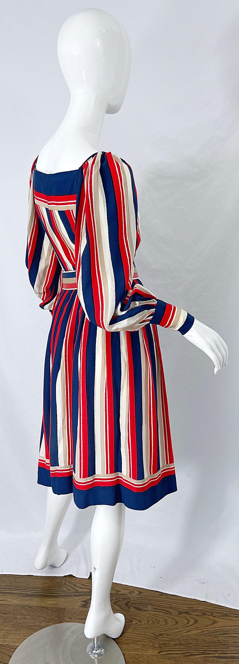 Women's 1970s Galanos Red White & Blue Bishop Sleeve Striped Silk Vintage 70s Dress For Sale
