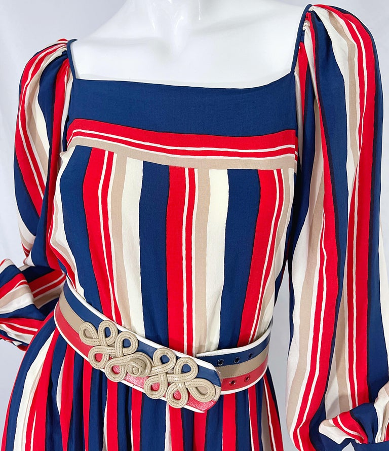 1970s Galanos Red White & Blue Bishop Sleeve Striped Silk Vintage 70s Dress For Sale 1