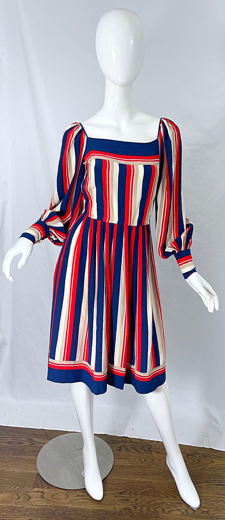 1970s Galanos Red White & Blue Bishop Sleeve Striped Silk Vintage 70s Dress For Sale 3