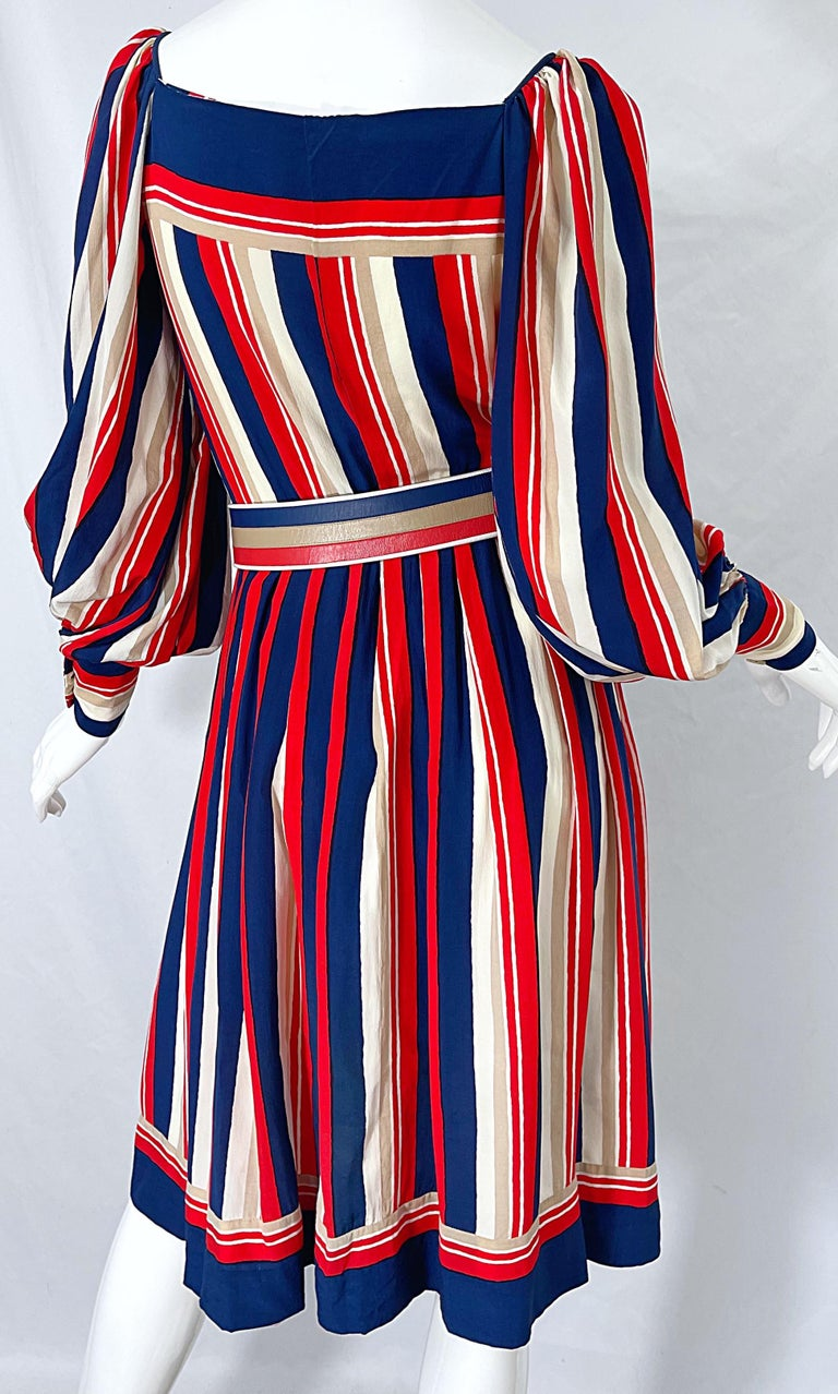 1970s Galanos Red White & Blue Bishop Sleeve Striped Silk Vintage 70s Dress For Sale 4