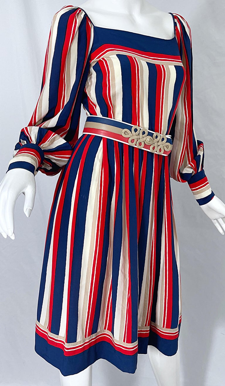 1970s Galanos Red White & Blue Bishop Sleeve Striped Silk Vintage 70s Dress For Sale 5