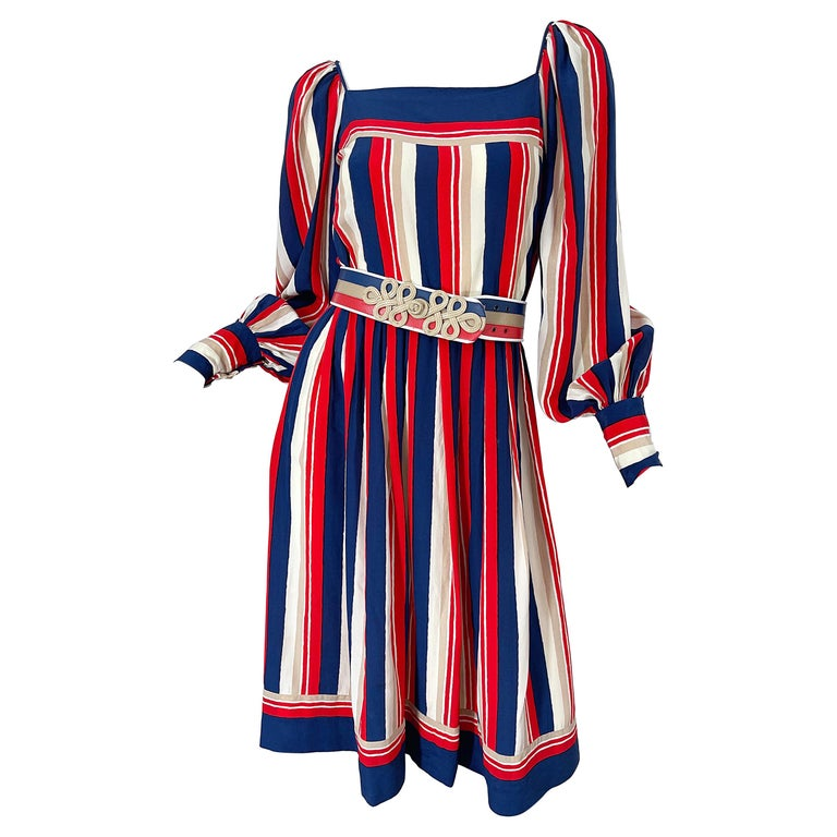 1970s Galanos Red White & Blue Bishop Sleeve Striped Silk Vintage 70s Dress For Sale