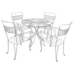 1970s Garden Set of Iron Circular Table and Four Chairs