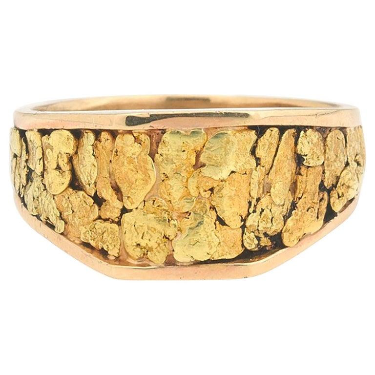 1970s Gentlemans 14 Karat Rose Yellow Gold Nugget Vegas Ring For Sale