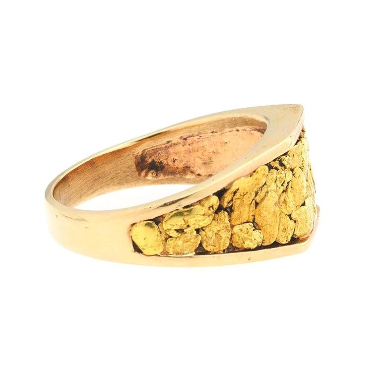 Modernist 1970s Gentlemans 14 Karat Rose Yellow Gold Nugget Vegas Ring For Sale