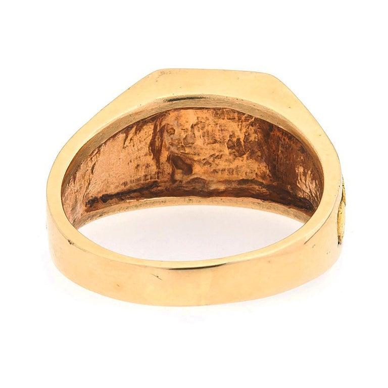 Men's 1970s Gentlemans 14 Karat Rose Yellow Gold Nugget Vegas Ring For Sale