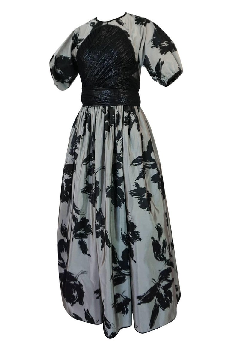 1970s Geoffrey Beene Couture Silk Dress with Semi-Transparent Inset In Excellent Condition For Sale In Rockwood, ON