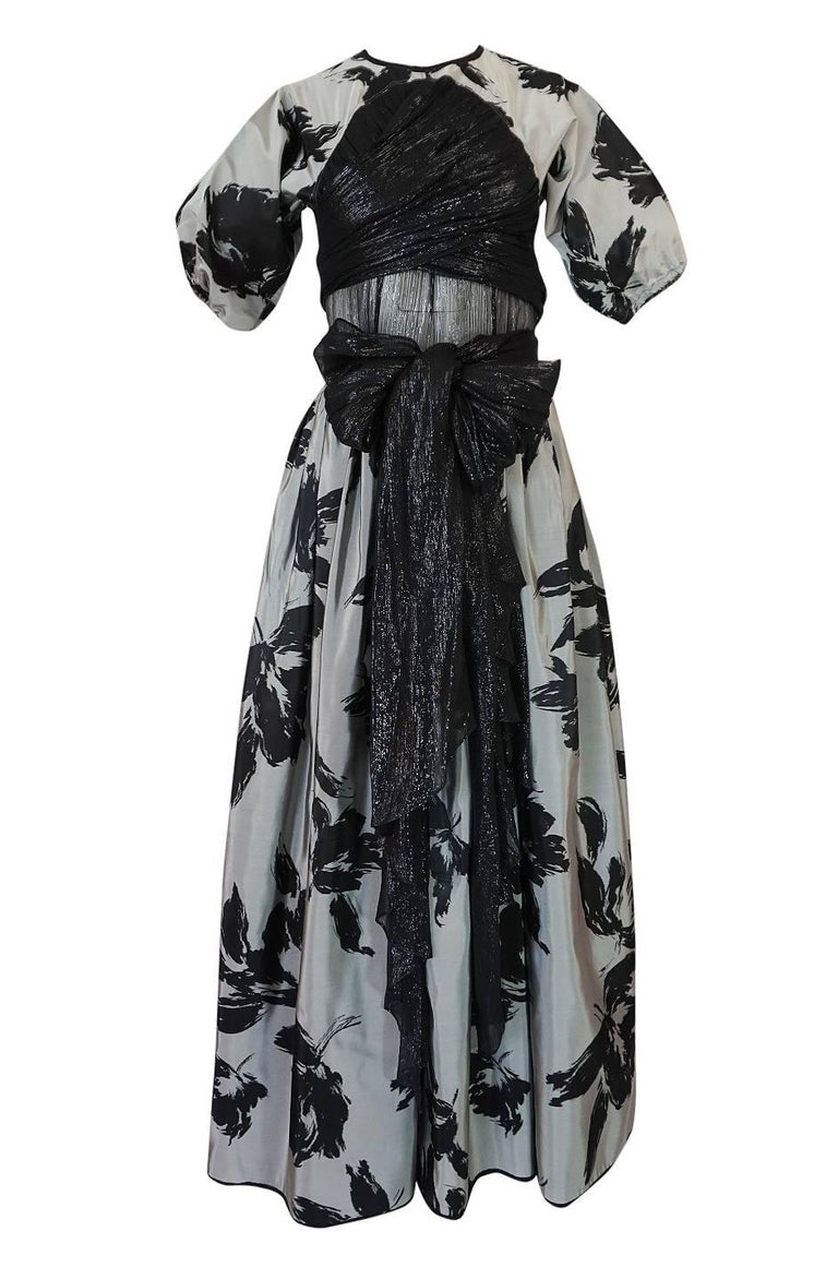 Women's 1970s Geoffrey Beene Couture Silk Dress with Semi-Transparent Inset For Sale
