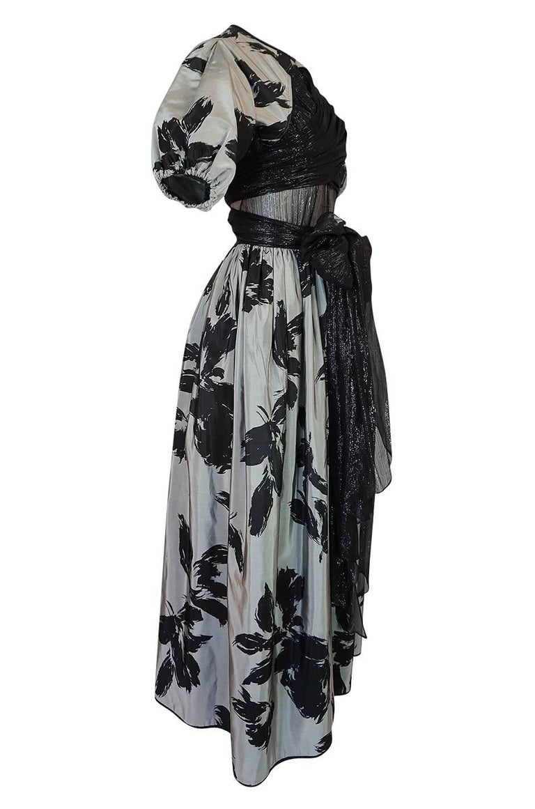 1970s Geoffrey Beene Couture Silk Dress with Semi-Transparent Inset For Sale 1