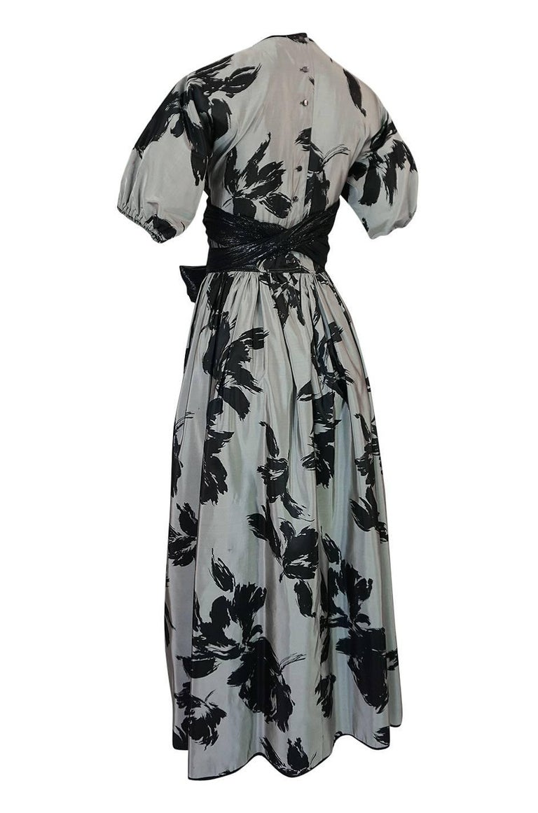 1970s Geoffrey Beene Couture Silk Dress with Semi-Transparent Inset For Sale 3