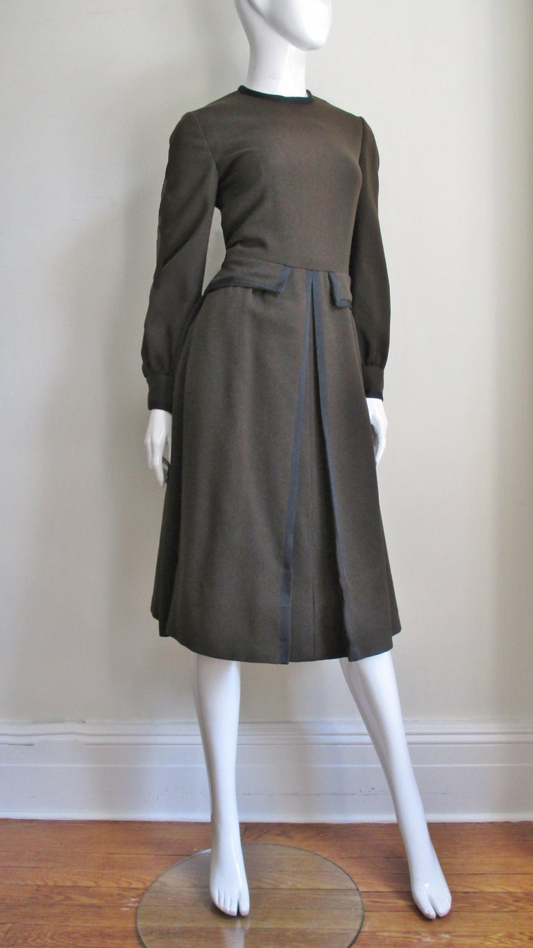 Geoffrey Beene 1970s Brown with Black Trim Dress For Sale 3