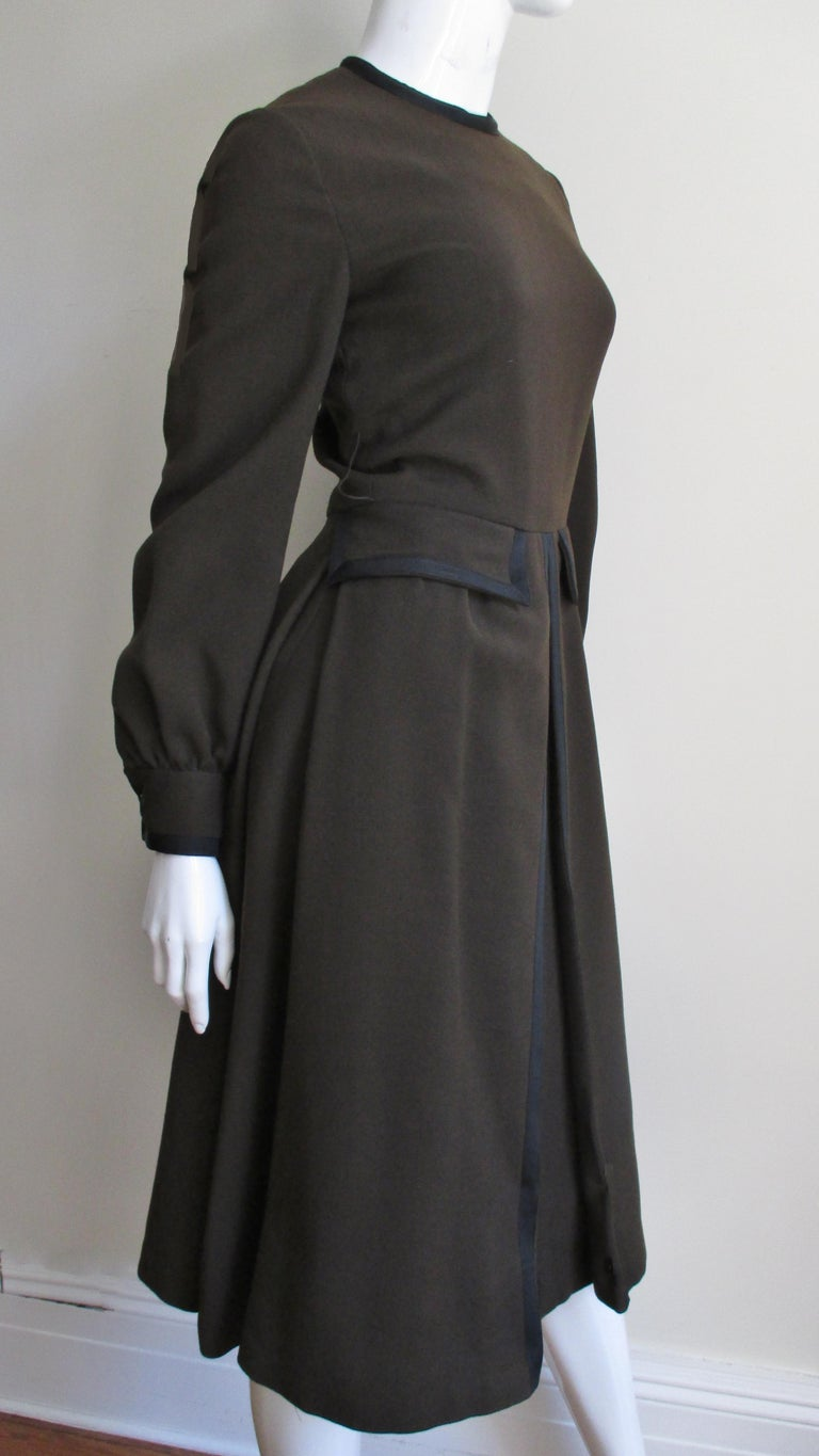 Geoffrey Beene 1970s Brown with Black Trim Dress For Sale 4
