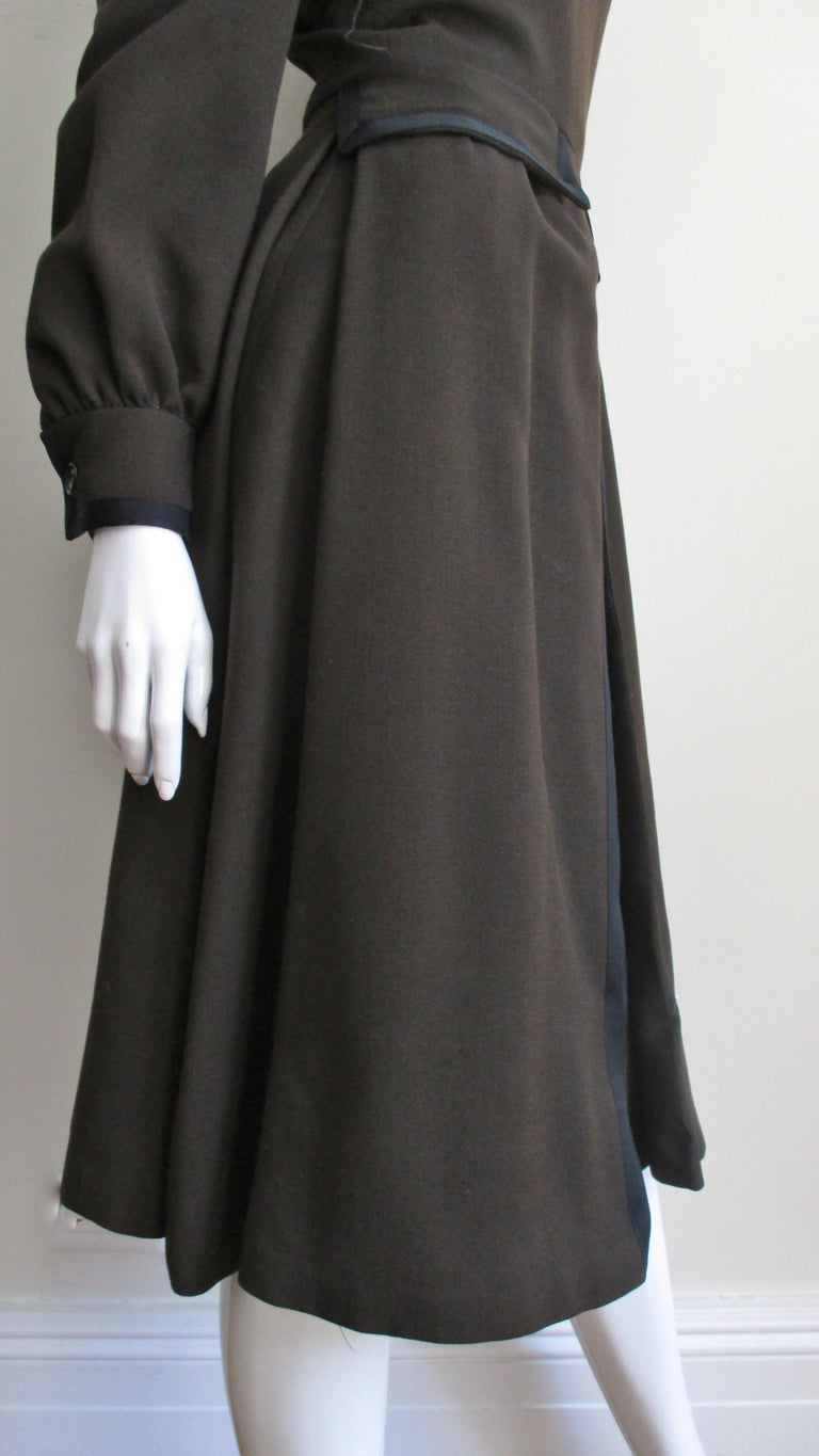 Geoffrey Beene 1970s Brown with Black Trim Dress For Sale 5