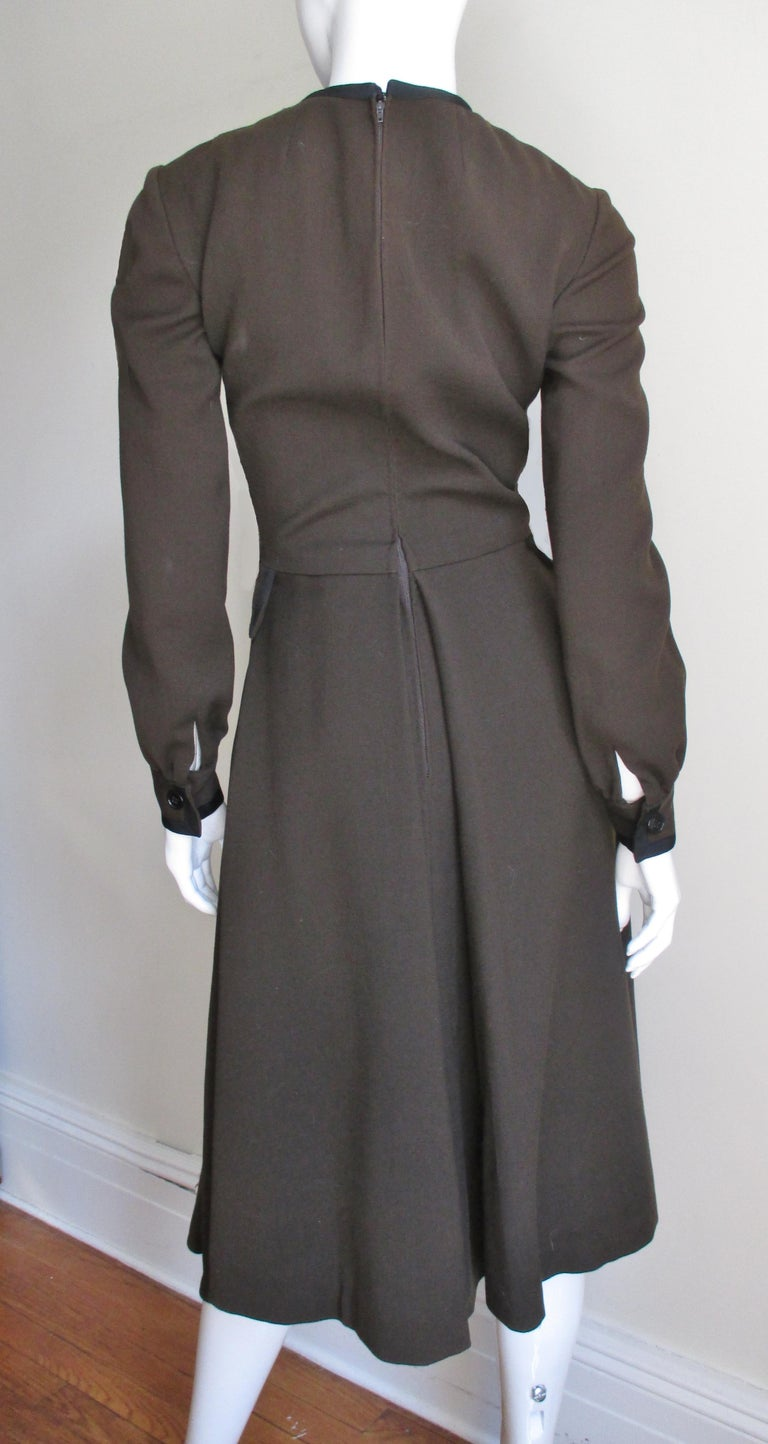 Geoffrey Beene 1970s Brown with Black Trim Dress For Sale 6