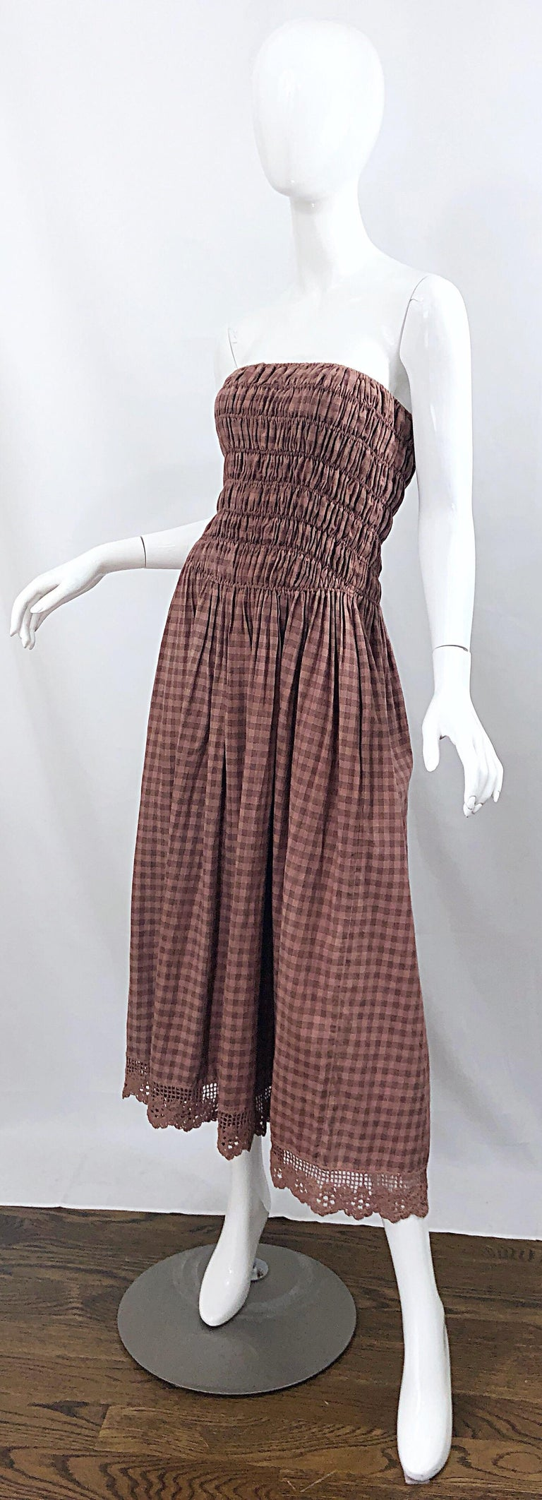1970s Geoffrey Beene Dusty Rose Pink + Brown Crochet Strapless Ombre Midi Dress For Sale 3