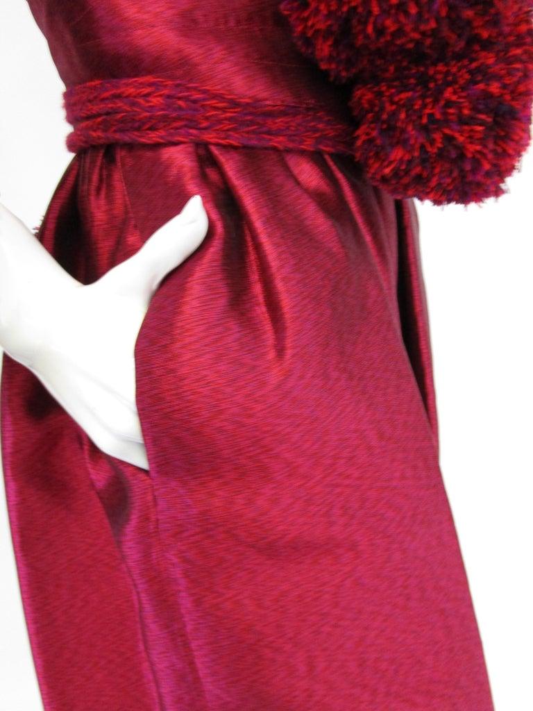 1970s Geoffrey Beene Raspberry Iridescent Silk Evening Dress W/ Pom-pom Belt  For Sale 5