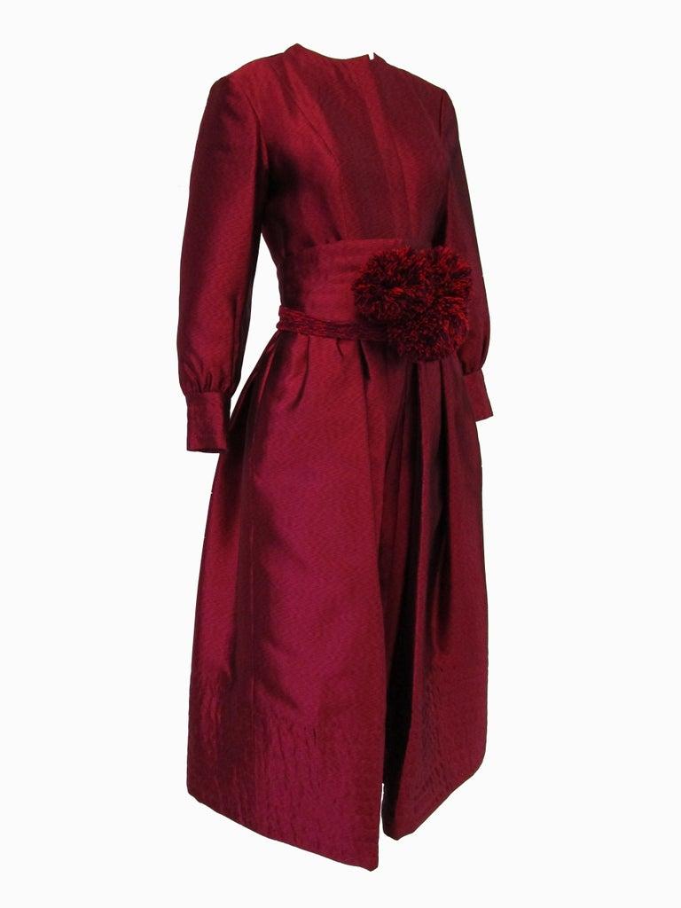 Red 1970s Geoffrey Beene Raspberry Iridescent Silk Evening Dress W/ Pom-pom Belt  For Sale