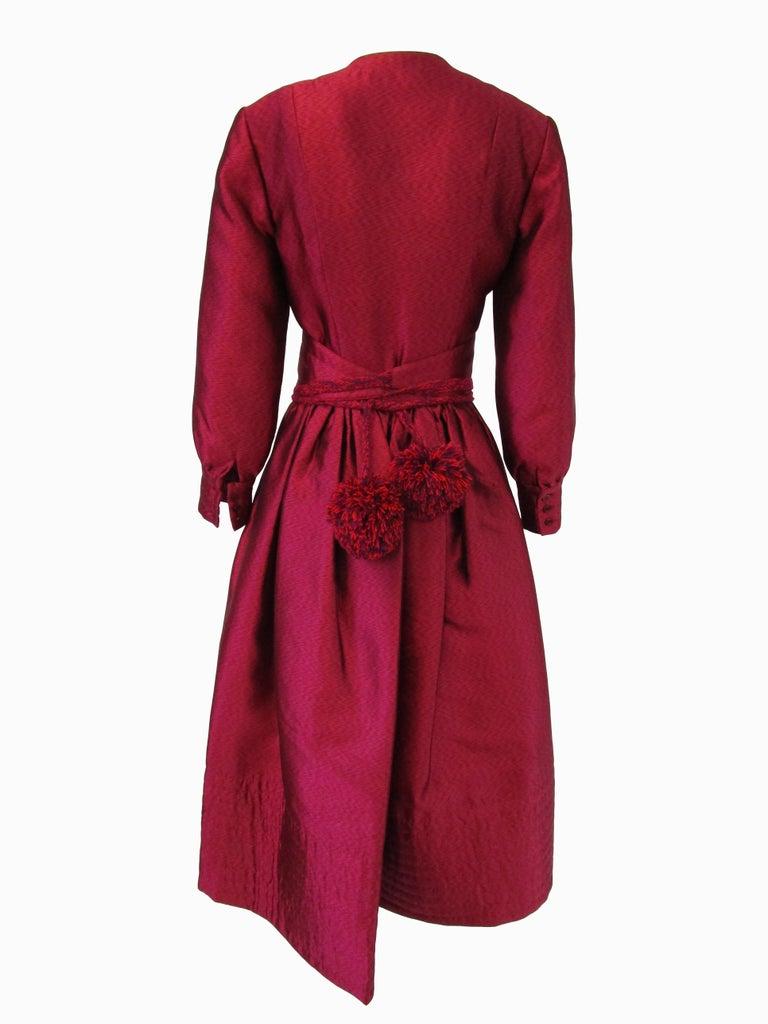 Women's 1970s Geoffrey Beene Raspberry Iridescent Silk Evening Dress W/ Pom-pom Belt  For Sale